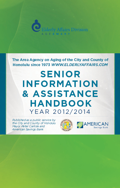 Cover of Elderly Affairs Division Senior Handbook showing agency Age Smart logo and native flowers